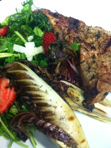 Herb Rubbed Pork Chops, Grilled Radicchio and Mustard Frills, Arugula and Starwberry Salad.