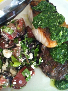 Halibut and Steak with Cilantro Pesto. Served with Heirloom Tomato Salad.