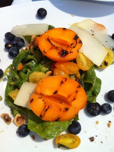 Grilled Peach Salad with Blueberries, Manchego, and Spinach